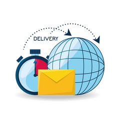 Global delivery with choronometer and e-mail vector
