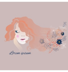 Woman with long flowing hair and flowers vector image