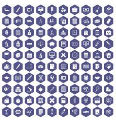100 calculator icons hexagon purple vector image vector image