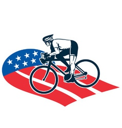 cyclist riding racing bike set inside oval vi vector image