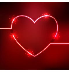 Abstract background with heart shape neon lines vector