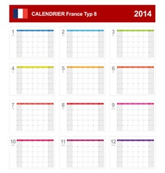 Calendar 2014 French Type 8 vector image vector image