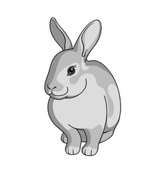 gray rabbitanimals single icon in monochrome vector image