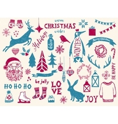 Hand drawn Christmas design elements vector image