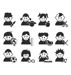 kids head with education icons set vector image