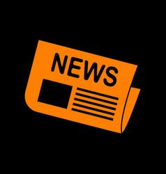 newspaper sign orange icon on black background vector image