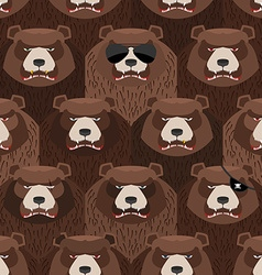 Seamless pattern of brown angry bear A flock of vector image
