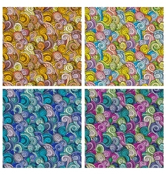 Waves and curls patterns set vector