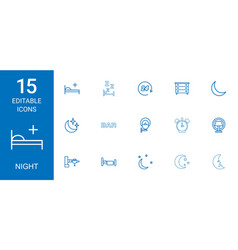 15 night icons vector