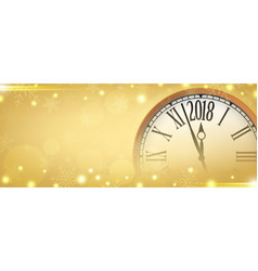 2018 happy new year with retro clock on gold vector