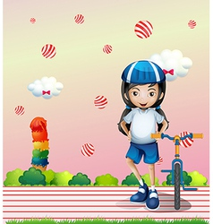 A girl and her bicycle vector