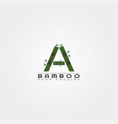 A letter bamboo logo template creative design vector