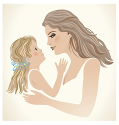 A little girl seeks to mom vector