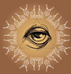 a magical eye in style boho contour vector image