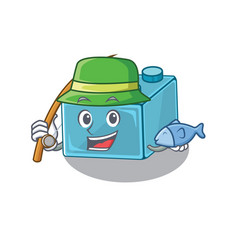 A picture happy fishing lego brick toys design vector