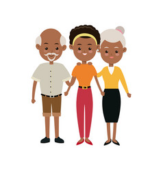 Afro american family mother and grandparents vector