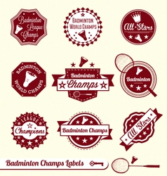 Badminton Labels vector image