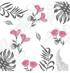 beauty exotic flowers with branches background vector image