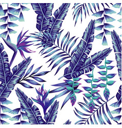 blue tropical flowers and palm leaves seamless vector image