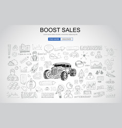Boost sales concept with business doodle design vector