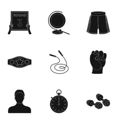 Boxing set icons in black style Big collection of vector