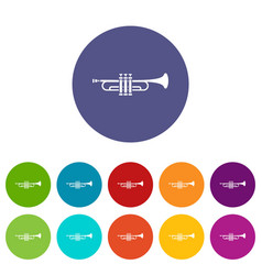 Brass trumpet set icons vector