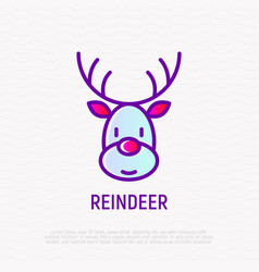 Cartoon christmas reindeer thin line icon vector