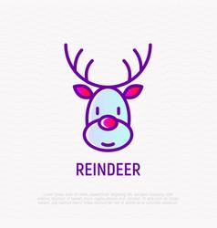 cartoon christmas reindeer thin line icon vector image