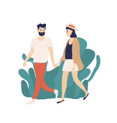 casual young couple walking holding hands outdoors vector image