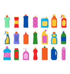 Chemical clean bottles detergent sanitary laundry vector