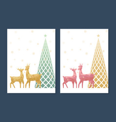christmas greeting card with low poly reindeer vector image