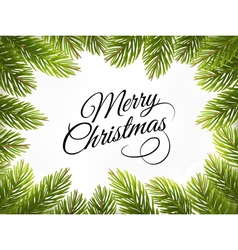 Christmas retro background with tree branches vector image