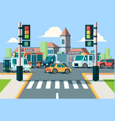city road traffic urban landscape intersection vector image