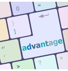 Close up view on conceptual keyboard - advantage vector image