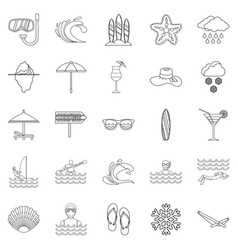Coastal place icons set outline style vector