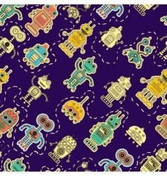 Colorful pattern with toy robot vector