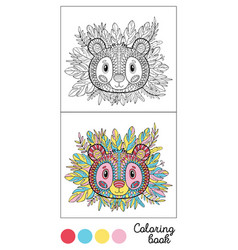 Coloring book panda page gamecolor images and vector