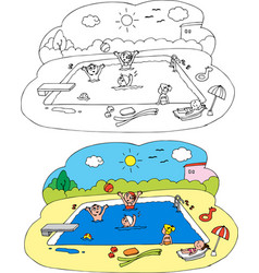 coloring children at the swimming pool vector image