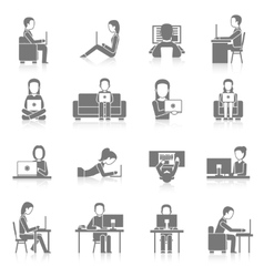 Computer Working Icons Set vector image