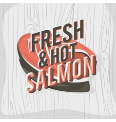 Creative logo design with salmon steak vector image