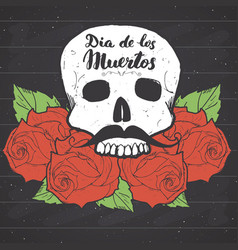 day of the dead lettering quote with handdrawn vector image