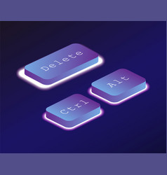 Discharge covered with a neon backlit keyboard vector