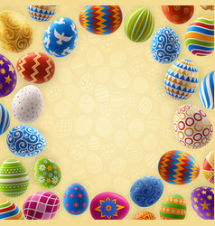 easter background frame decorated painted eggs vector image