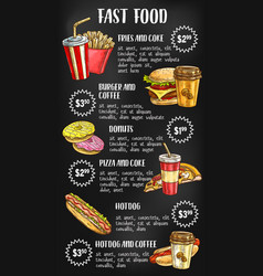 fast food menu on chalkboard design vector image