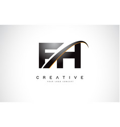 fh f h swoosh letter logo design with modern vector image