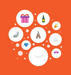 Flat icons present building fizz and other vector