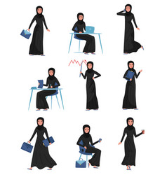 Flat set of muslim business woman in vector