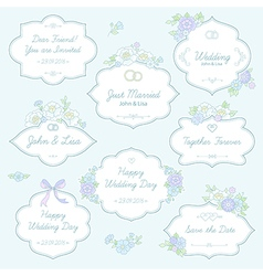 floral wedding labels vector image