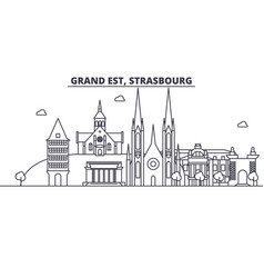 France strasbourg architecture line skyline vector