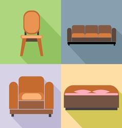 Furniture set in outlines Digital image vector image